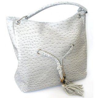 Handtasche grau in Straußenlederoptik - ca. 40 cm x  35 cm - mit Reißverschluss und kleinen Innentaschen