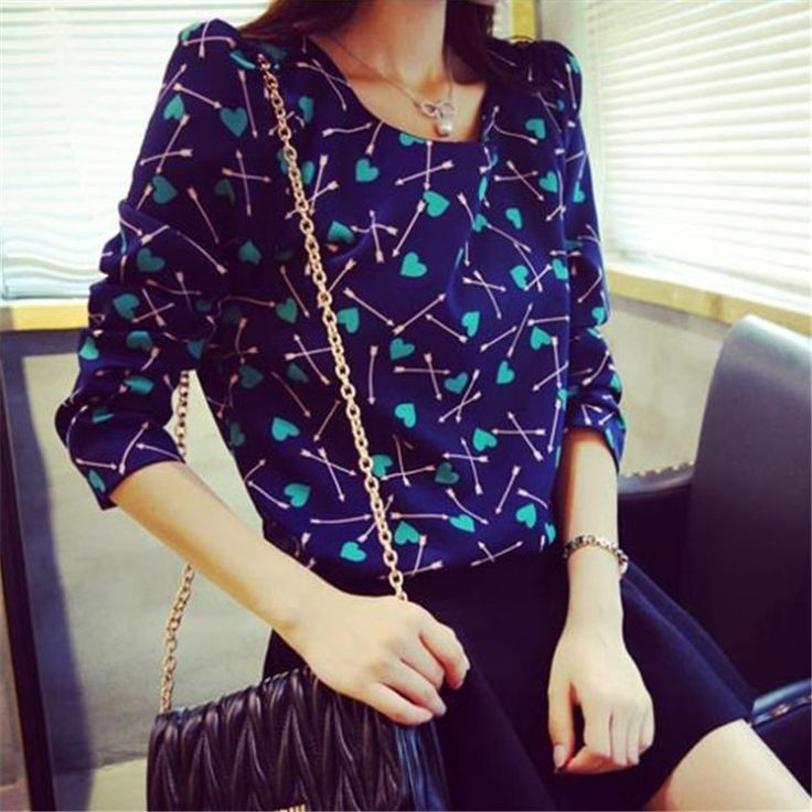 The newest for Vintage Women's Floral Shirt Crewneck Pullover Tops Blouse Tee