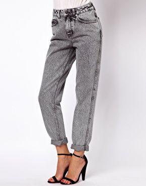 ASOS Mom Jeans in Acid Wash Gray