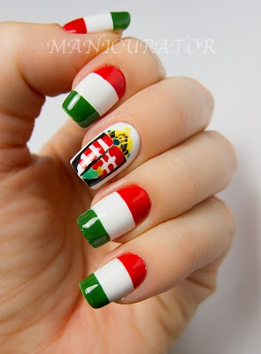 Hungarian flag nail art