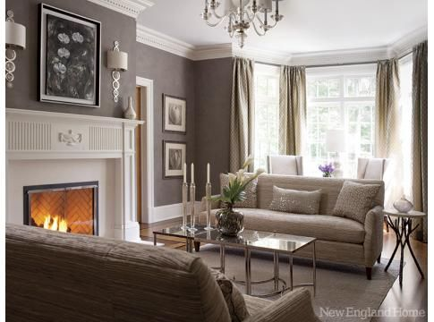 A gray living room in Darien, Conn is anything but drab. Photo by John Bessler