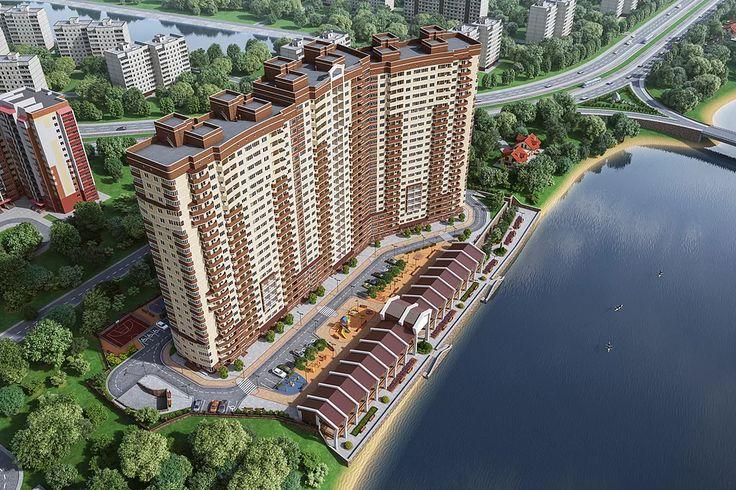 Экстерьерная визуализация жилого комплекса. Архитектурная 3d анимация