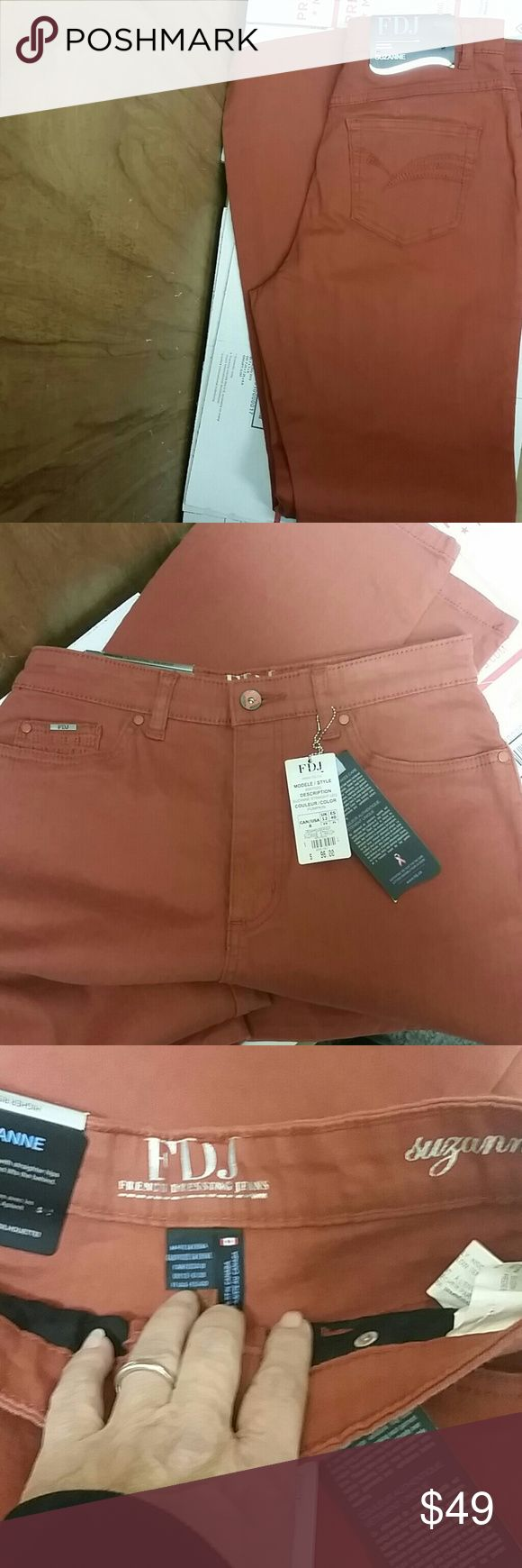 NWT FDJ SUZANNE JEANS SZ 8 New with tags fdj French Dressing Jeans Suzanne type high-rise straight leg pumpkin color FDJ Jeans