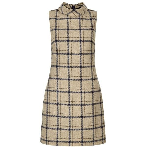 Hobbs Tiffany Check Dress, Camel (19080 DZD) ❤ liked on Polyvore featuring dresses, print maxi dress, sleeveless shift dress, sleeved maxi dress, brown maxi dress and sleeved dresses