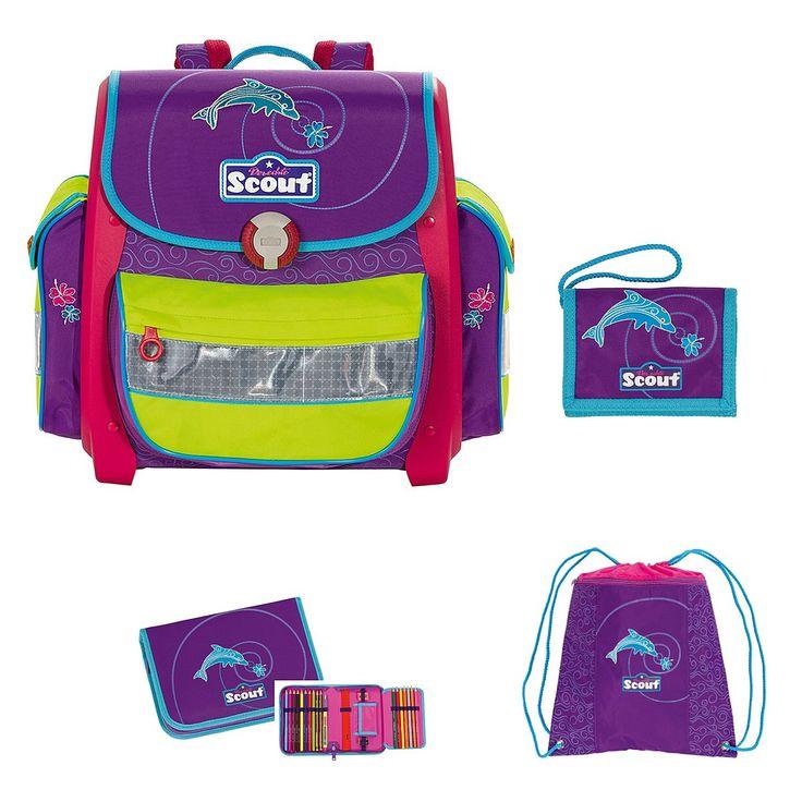 Scout Schultasche Buddy Set 4tlg. Delfin Emotion - Mädchen Motiv