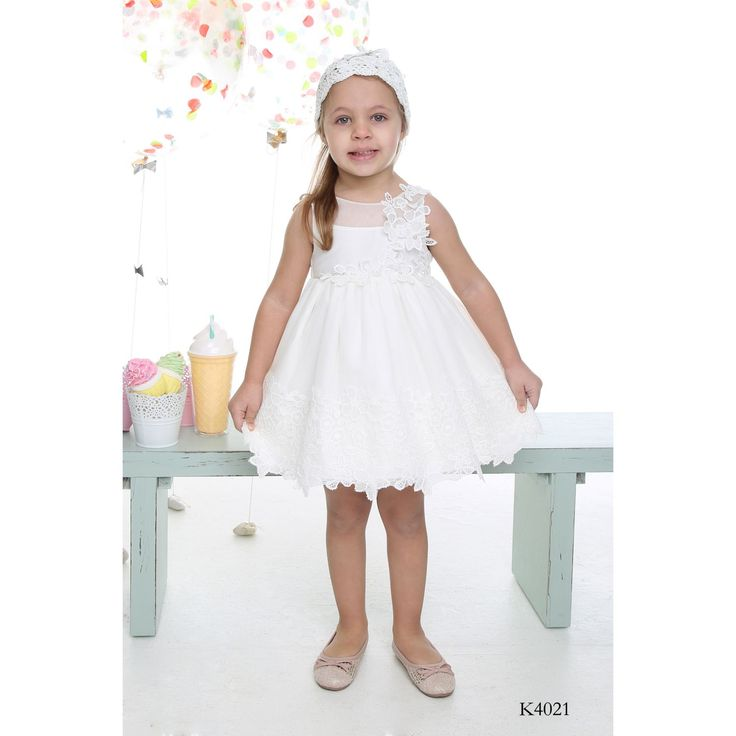Girls Special Occasion Ivory Dress with Floral Lace-Michiamo - CHRISTENINGS-ΒΑΠΤΙΣΤΙΚΑ ΡΟΥΧΑ