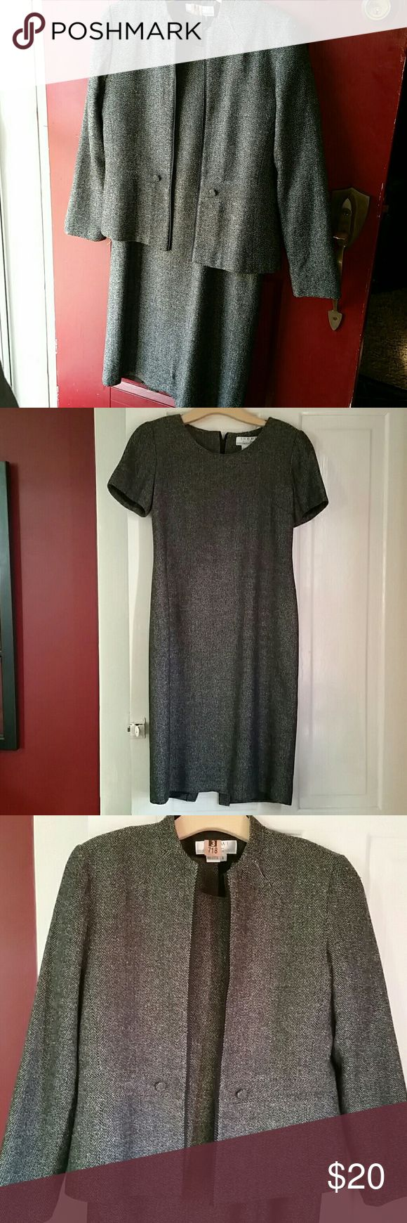 Two piece by SHOMI Black and white tweed. Short sleeves dress and jacket. Dress is 37 inches long, with hidden back zipper.  Beautiful two piece, and in great condition. * SHOMI  Dresses