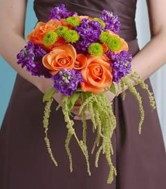 bouquet of flowers styles | Style Orange Rose & Purple Stock Bridesmaid Bouquet