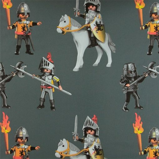 Grey cotton with Playmobil knights