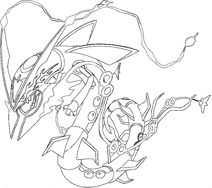 Pokemon Rayquaza Coloring Page Colouring Pages