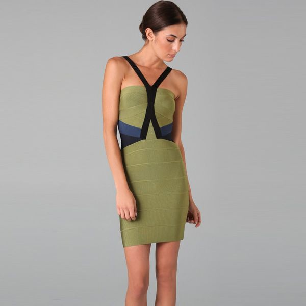 Herve Leger Colorblock Bandage Dress Green