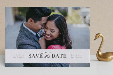 """""""Eternally yours"""" - Elegant, Formal Letterpress Save The Date Cards in Graphite by Seven Swans."""