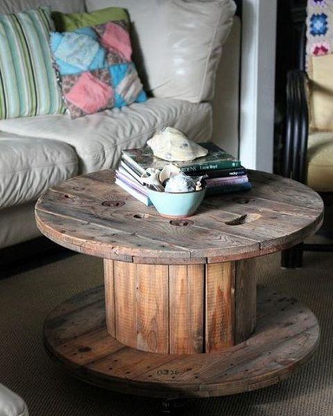 Bom dia! #reuso com carretel de madeira. #upcycle Pinterest:  br.pinterest.com/pinideias www.ideiasdiferentes.com.br |Imagem não autoral|