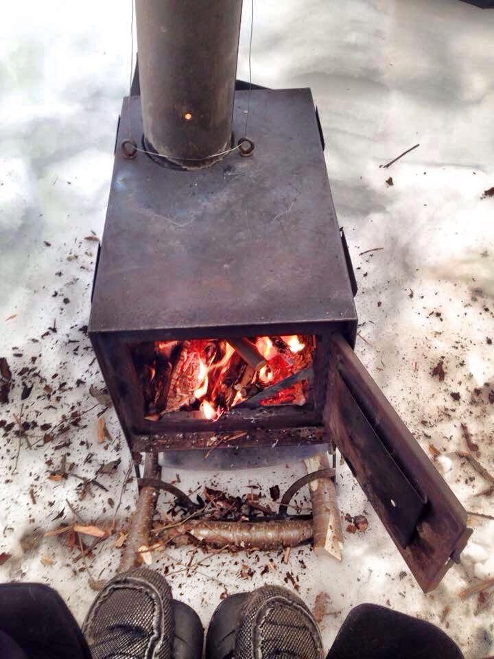 Having a fire #WinterCamping