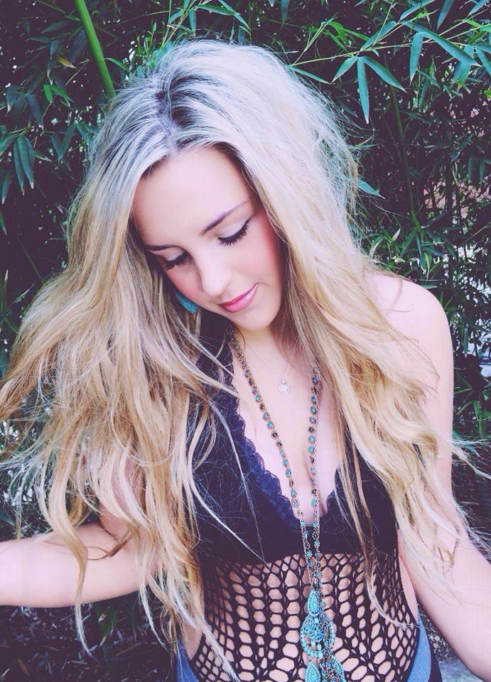 Youtuber Megan Parken with gorgeous beachy waves.