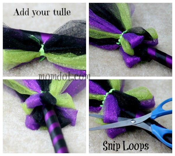 DIY Tulle Broom for Halloween