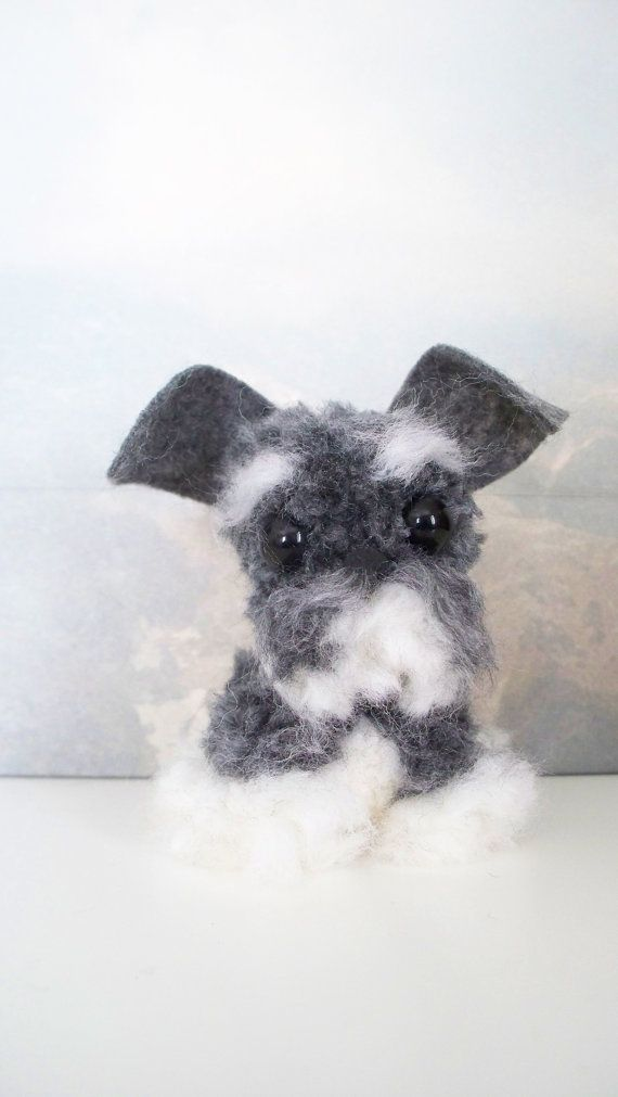 Schnauzer Yarn Pom-Pom Puppy by YuriandYanvar on Etsy