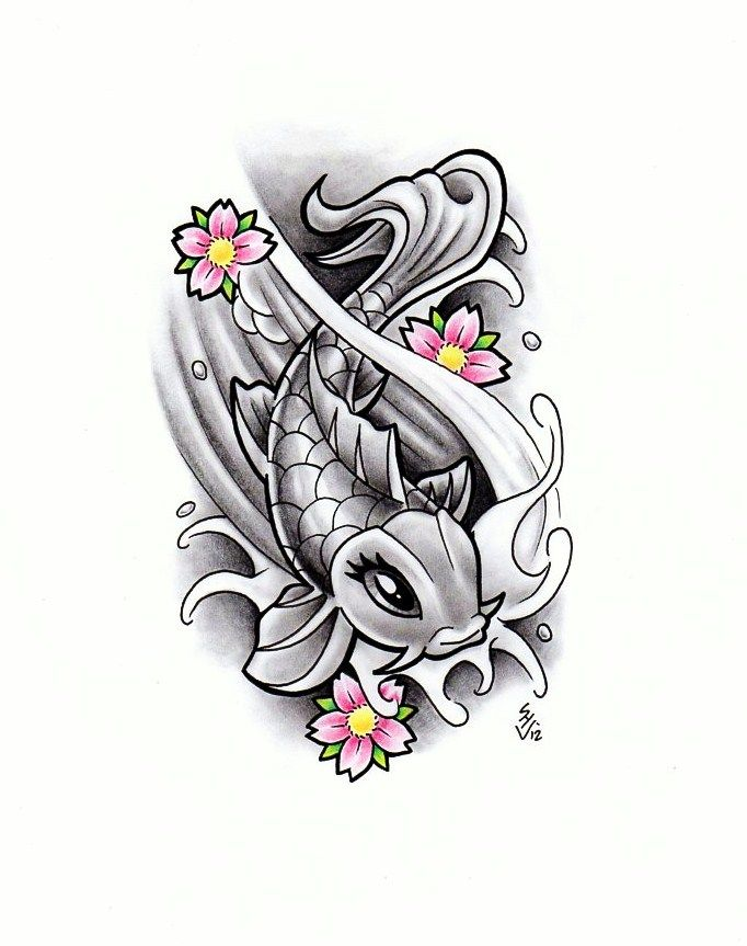 Girly koi fish design by hamdoggz inspiration for Koi fish designs