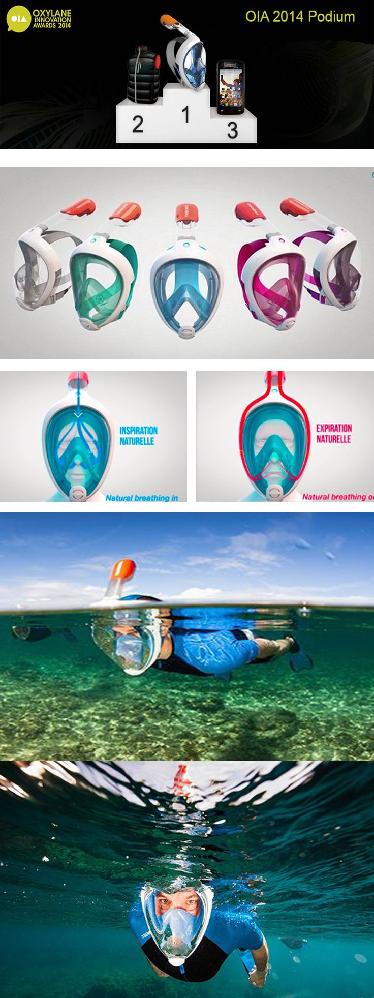 "now in stores: EASYBREATH SNORKELING MASK ""TRIBORD"" france, The Easybreath mask…"