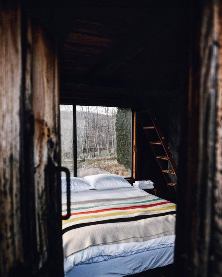 """upknorth: """"Escape Mondays in the Catskill Mountains. #getoutdoors #upknorth Rentable retreat in upstate New York. Complete with fireplace and wilderness views @milk.barn. Photo via @cabinlove (at Upstate NY) """""""
