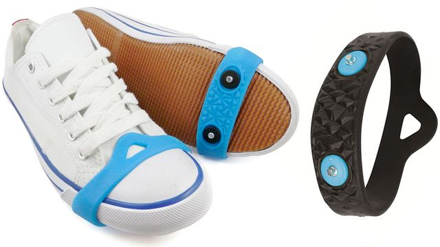 This Spiked Rubber Band Equips Any Shoe for Icy Weather - for those extreme travelers