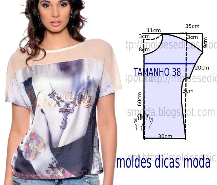 Tenha em atenção que o desenho do molde de blusa em tule transparente não tem valor de costura tem que ser acrescentado. Apenas os moldes que são para...