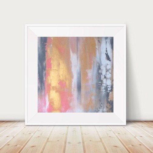 Large pink and gold painting pink and grey by HouseofTrousselotArt