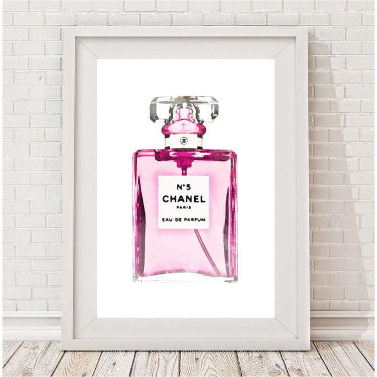 Watercolour Chanel perfume print   hardtofind.