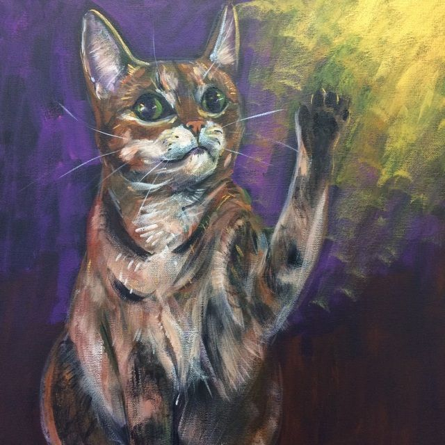 """Kitsune the cat, beckoning good fortune with waving paw"", acrylic on canvas, pet portrait, Jenny Jump"