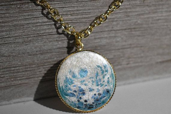 Frozen Necklace  Hand painted pendant  One of a Kind Jewelry