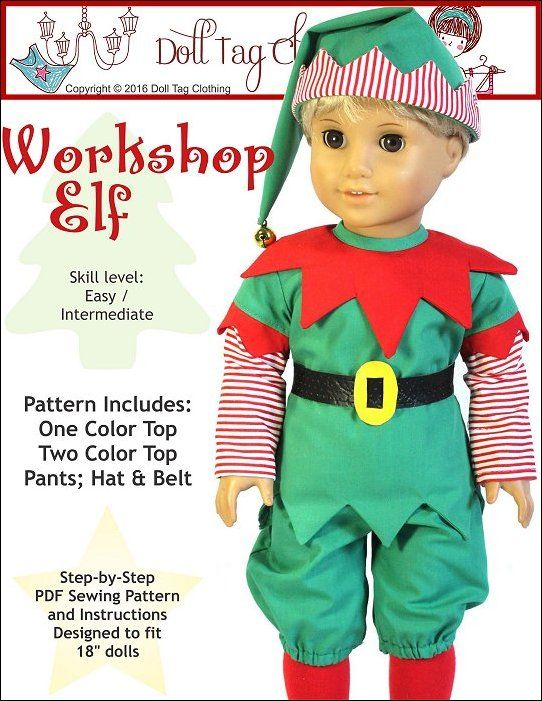 Workshop Elf pattern for 18 inch dolls like American Girl doll. Pattern by Doll Tag Clothing.
