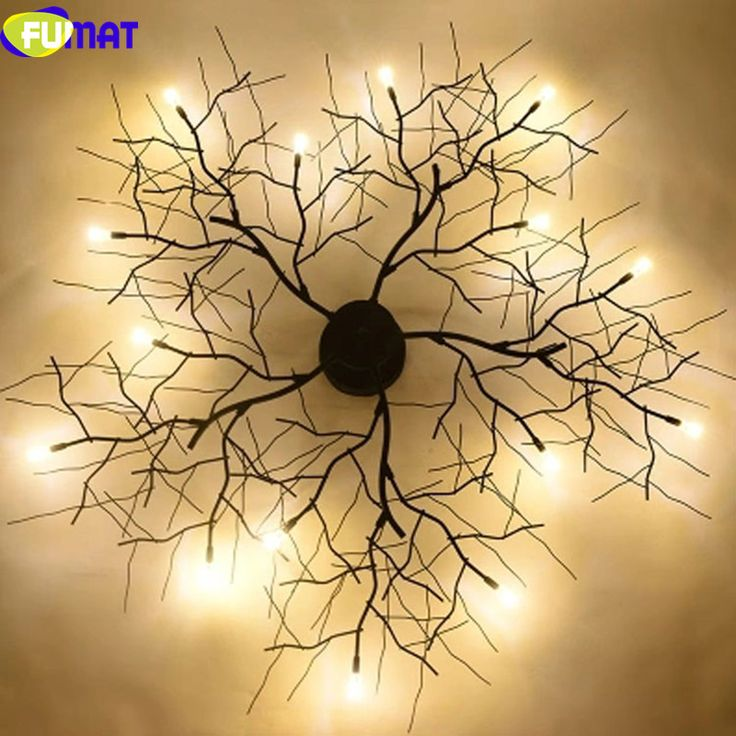 FUMAT Modern Branch Chandelier Globe Creative Black Metal Twig Ceiling Lamp Office Living Room Light G4 LED Dia50cm