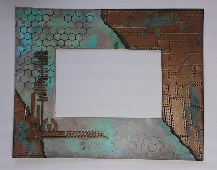 Industrial picture frame using ScrapFX - Urban Corner and Tim Holtz Texture Fades - Riveted Metal.  Created by Anna Wilson