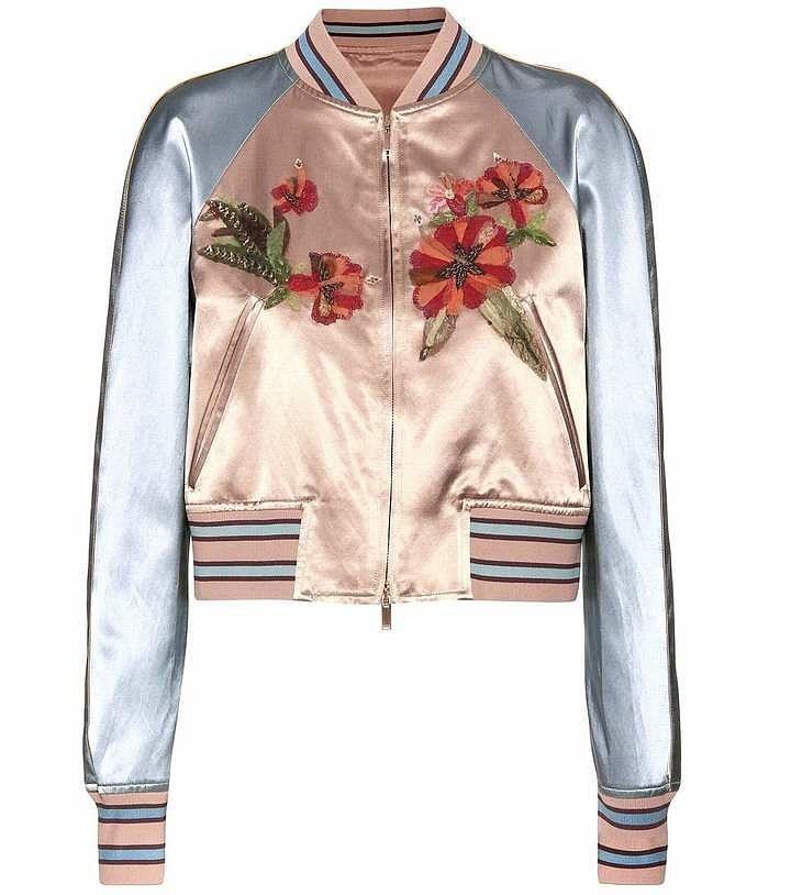 Valentino mytheresa.com online exclusive embellished satin bomber jacket ($6,790)