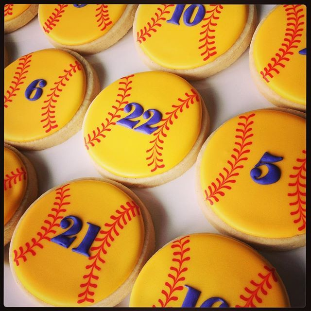 Softball cookies for the Holland Patent Varsity girl's softball team. #girlssoftball #softballcookies