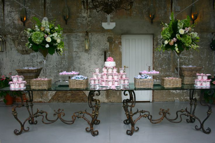 Rustic Wedding Sweet & Favour Table and Wedding cake. Created and styled by www.villadolce.co.uk