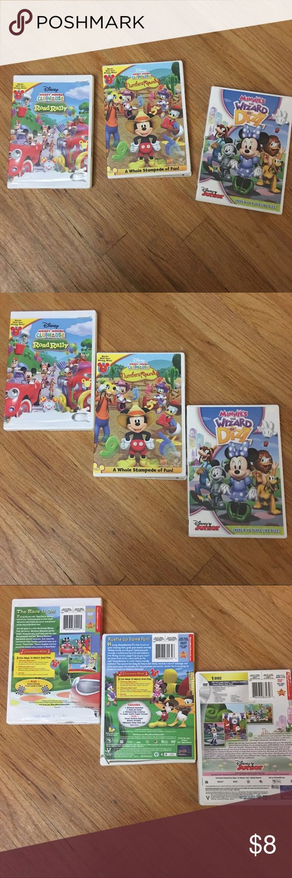 Mickey Mouse Clubhouse DVD's 3-DVD's Road Rally, Numbers Round up, and Wizard of Diz Other