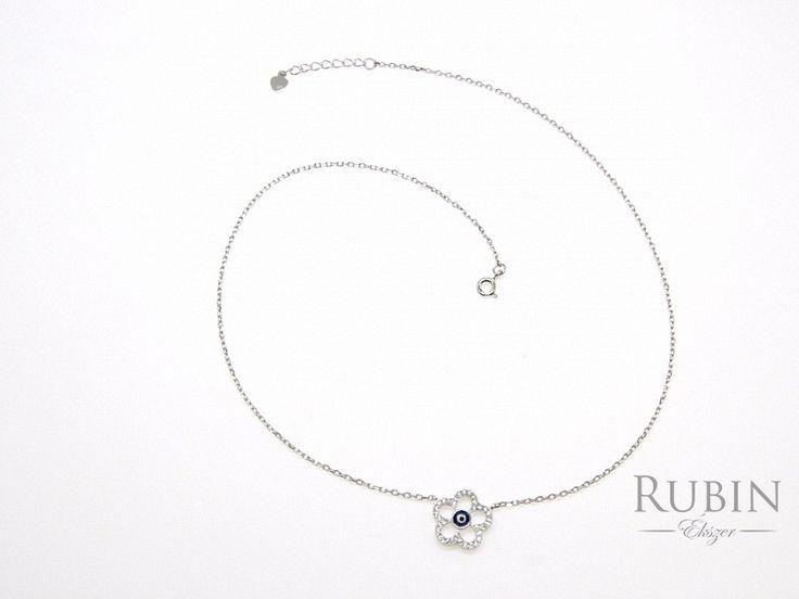 Cirkónia köves virág motívumos ródiumos ezüst nyaklánc