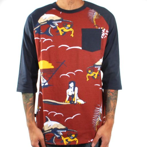 Loser Machine Dark Seas Capsize Raglan Tee (Brick Red) $47.95