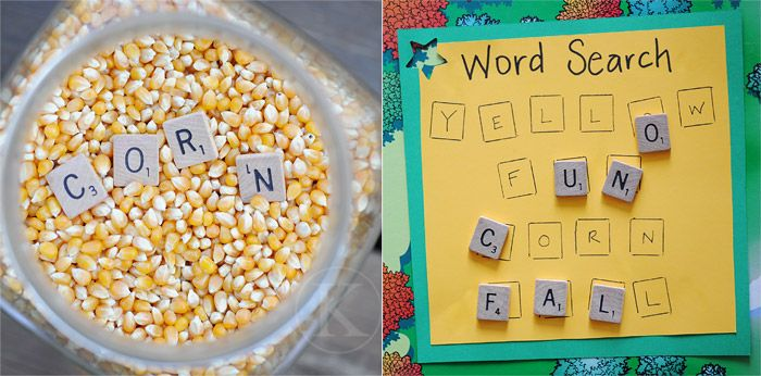 Find the letter tiles in the corn, then put them on the word search...great letter identification and practice reading simple words!  It would be cute to switch out corn for other things {seasonal}