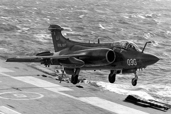 """british-eevee: """"Blackburn Buccaneer landing on the HMS Ark Royal, 1977 """""""