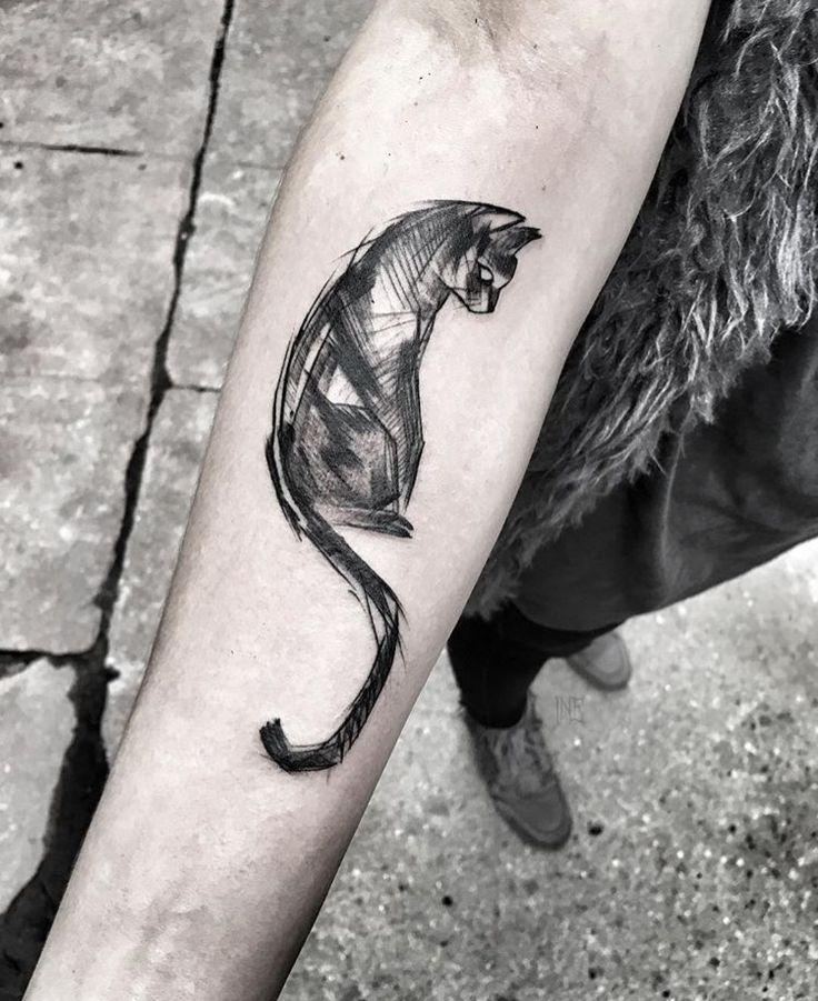 Sketch looking cat tattoo