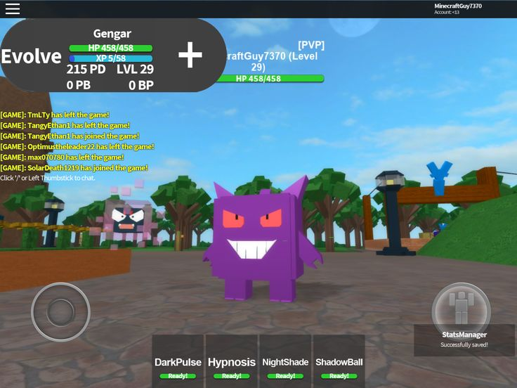 I am now GENGAR in ROBLOX pokemon advanced and now lvl 100