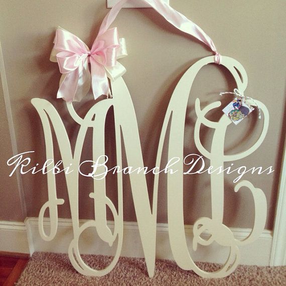 36x36 3 letter wooden monogram door hanger with bow large wooden painted monogram on