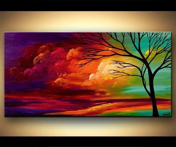 Große Acryl-bunte Landschaftsmalerei-moderne Türkis-rote purpurrote Baum-Malerei von Osnat – MADE-TO-ORDER-Grafik