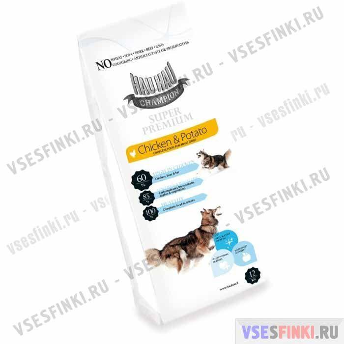 Корм Hau-Hau для взрослых собак (Курица и картофель) 12 кг