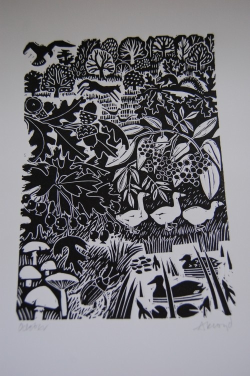 Carry Ackroyd lino print