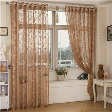 Light Coffee Elegant Leaves Stencil Jacquard Lace Sheer Curtain