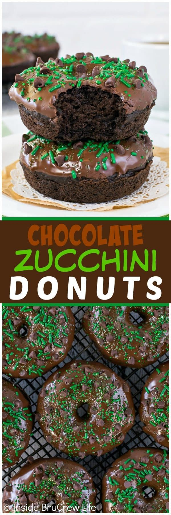 Chocolate Zucchini Donuts - these easy baked donuts are loaded with three kinds of chocolate! Great breakfast recipe to use up those summer veggies!