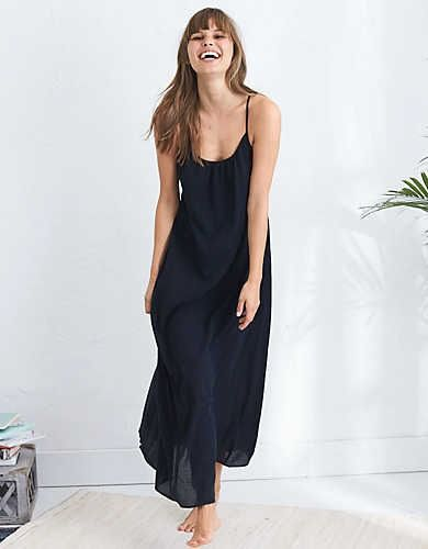 Aerie Low Back Maxi Dress, True Black | Aerie for American Eagle